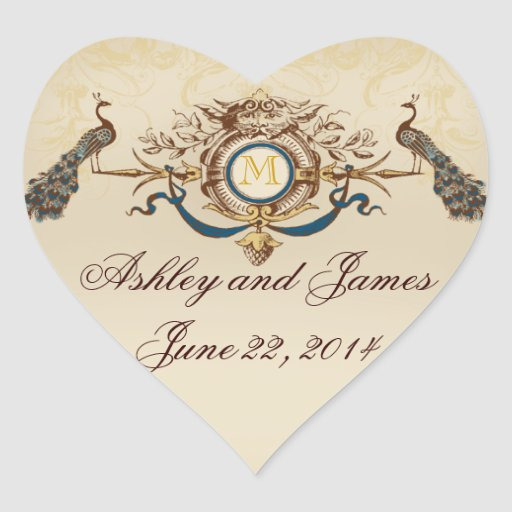 Elegant Peacock Save the Date Stickers Heart Shape