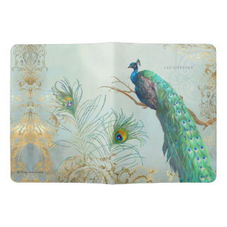 Elegant Peacock Tail Feathers on Tree Branch Gold Extra Large Moleskine Notebook