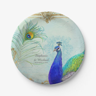 Elegant Peacock w Feather Vintage Wedding 7 Inch Paper Plate