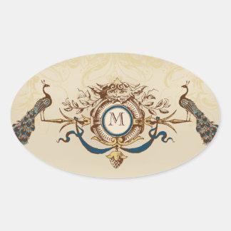 Elegant Peacock Wedding Stickers with Monogram