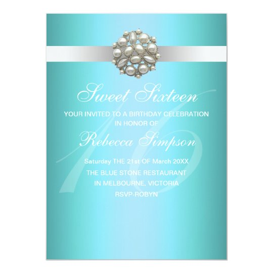 Elegant Pearl Blue Sweet 16 Birthday Invitation