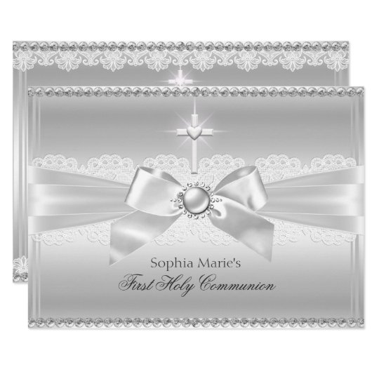 Elegant Pearl Bow & Cross First Holy Communion Card
