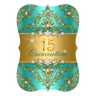 Elegant Pearl Damask Jade Quinceanera Card