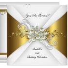 Elegant Pearl Gold Silver Diamond Birthday Party 2 Card