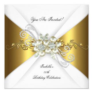 Elegant Pearl Gold Silver Diamond Birthday Party 2 13 Cm X 13 Cm Square Invitation Card
