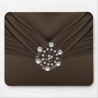 Elegant Pearl Jewel Brown Purse Mouse Pad