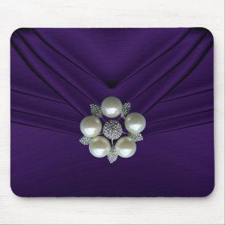 Elegant Pearl Jewel Purple Purse Mouse Pad