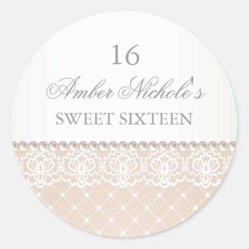 Elegant Pearl & Lace | Sweet 16 Sticker