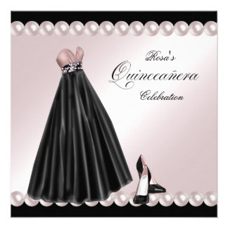 Elegant Pearl Pink Quinceanera Invitations