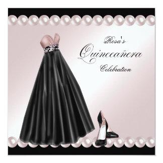 """Elegant Pearl Pink Quinceanera Invitations 5.25"""" Square Invitation Card"""