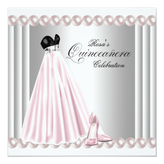 """Elegant Pearl Silver and Pink Quinceanera 5.25"""" Square Invitation Card"""