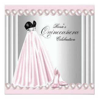 """Elegant Pearl Silver Pink Quinceanera Invitations 5.25"""" Square Invitation Card"""