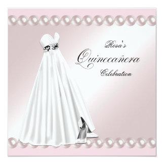 Elegant Pearl White Pink Quinceanera Invitations