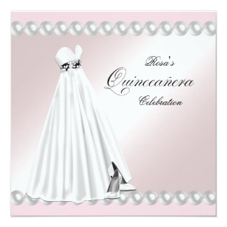 "Elegant Pearl White Pink Quinceanera Invitations 5.25"" Square Invitation Card"