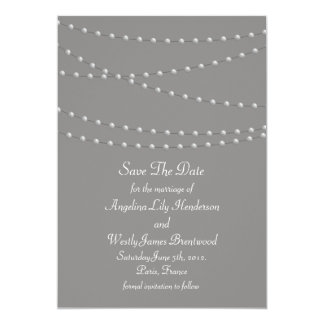 Elegant Pearls on Gray Save the Date Card