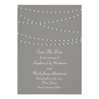 Elegant Pearls on Gray Save the Date Cards