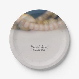 Elegant Pearls & Sea Shells Beach Wedding Paper Plate