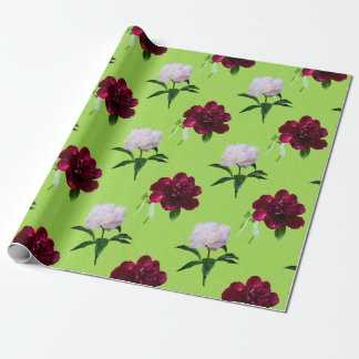 Elegant Peony Summer Green Wrapping Paper