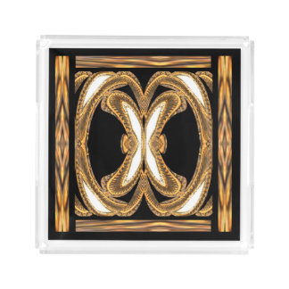 Elegant Perfume Tray on Black/White/Gold