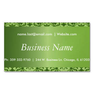 Elegant Peridot Green Damask Magnetic Business Cards