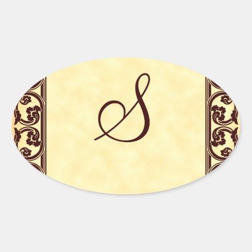 Elegant Personal Monogram in Brown Sticker