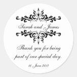 Elegant Personalised Thank You Wedding Sticker