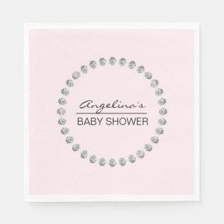 Elegant Personalized Baby Shower - Diamonds, Girl Paper Napkins