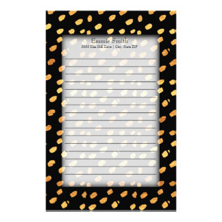 Elegant Personalized Black and Gold Stationery