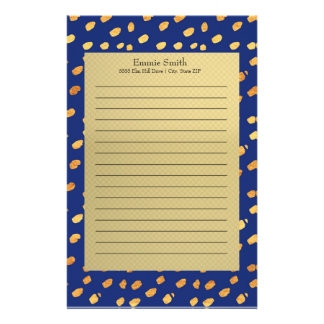 Elegant Personalized Blue and Gold Stationery