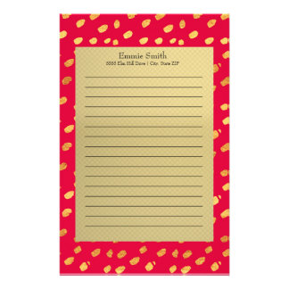 Elegant Personalized Gold and Red Stationery