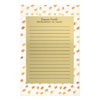 Elegant Personalized Gold and White Stationery