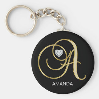 Elegant Personalized Gold Monogrammed Letter A Key Ring