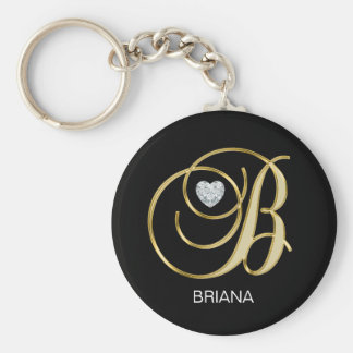 Elegant Personalized Gold Monogrammed Letter B Key Ring