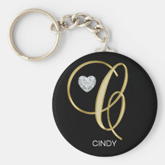 Elegant Personalized Gold Monogrammed Letter C Key Ring
