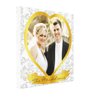 Elegant personalized heart shaped photo frame canvas print