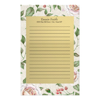 Elegant Personalized Pink Roses and Gold Stationery