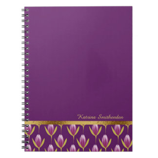 Elegant Personalized Purple Floral and Gold Notebooks