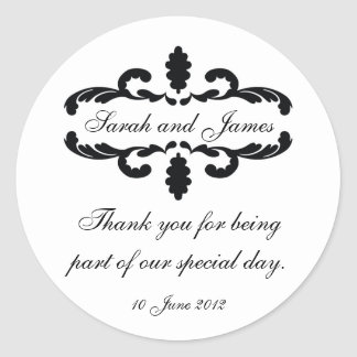 Elegant Personalized Thank You Wedding Sticker