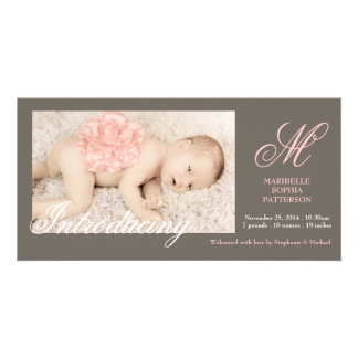 Elegant Photo Baby Girl Birth Announcement Card
