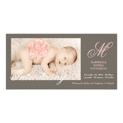Elegant Photo Baby Girl Birth Announcement Personalized Photo Card
