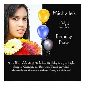 Elegant Photo Balloons 21st Birthday 13 Cm X 13 Cm Square Invitation Card