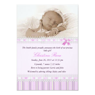 Elegant Photo Birth Announcement - Pink