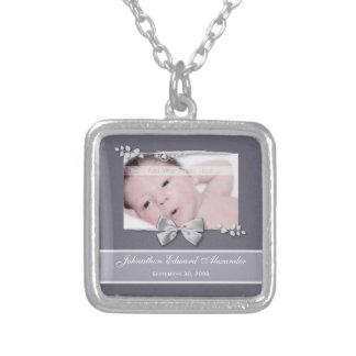 Elegant Photo Birth Announcement Silver Ribbon Square Pendant Necklace