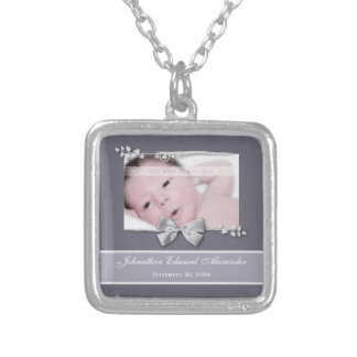 Elegant Photo Birth Announcement Silver Ribbon Silver Plated Necklace