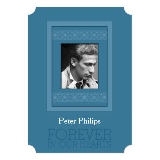 Elegant Photo Blue Template Memorial Funeral Card
