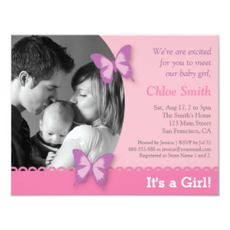 Elegant Photo butterfly baby shower party 11 Cm X 14 Cm Invitation Card