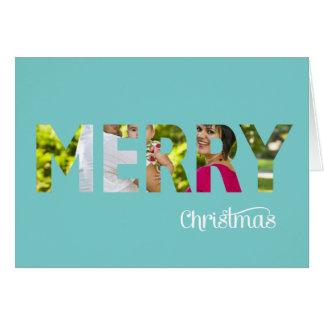 Elegant Photo Christmas Card Peekaboo in Teal