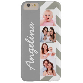 Elegant Photo Collage Silver Gray Barely There iPhone 6 Plus Case