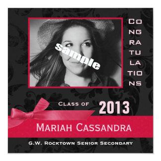 Elegant Photo Grad - Black Floral & Hot Pink Bow Personalized Announcement