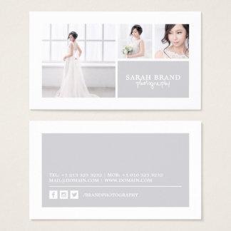 Elegant Photo Grid Photographer Business Card